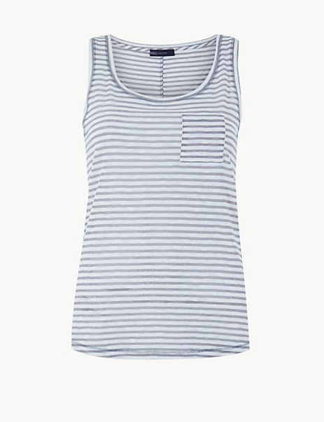 Cotton Rich Striped Relaxed Fit Vest Top
