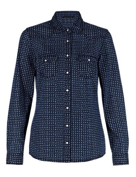 Pure Cotton Spotted Denim Shirt