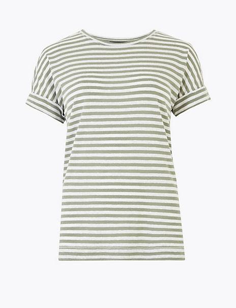 Linen Rich Striped Relaxed Fit T-Shirt
