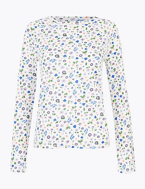 Pure Cotton Floral Long Sleeve Top