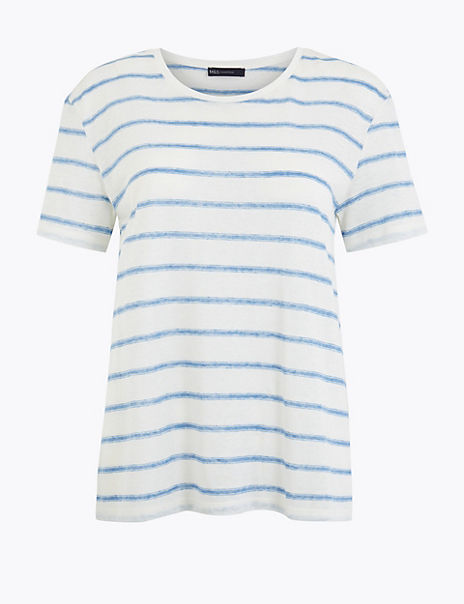 Linen Blend Striped Relaxed Fit T-Shirt