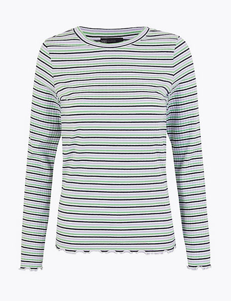 Striped Ribbed Fitted Long Sleeve Top