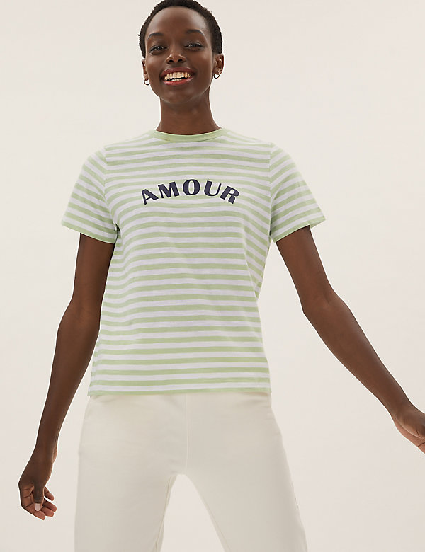 Pure Cotton Amour Slogan Striped T-Shirt
