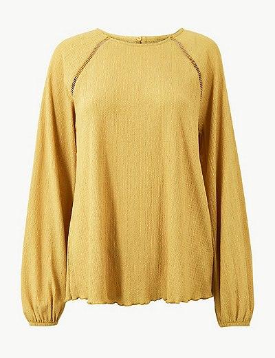 bac27ca2b58945 Round Neck Long Sleeve Blouse   Marks & Spencer London
