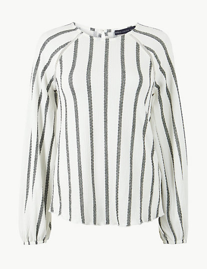 c845b6d9327450 Striped Round Neck Long Sleeve Blouse   Tops & t-shirts   Marks and ...