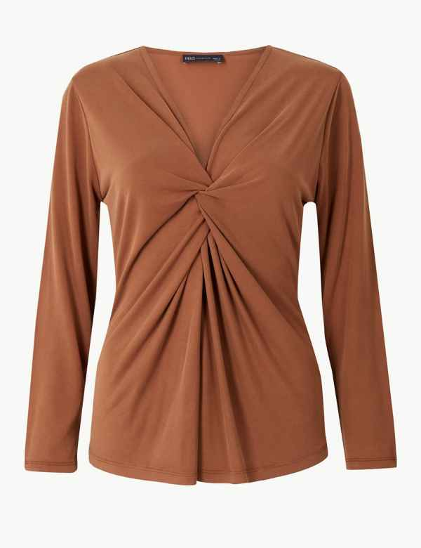 Twisted Front V-Neck Long Sleeve Top 19ca0f6d61e