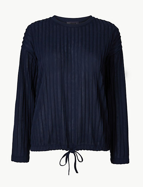 Textured Relaxed Fit Long Sleeve Top