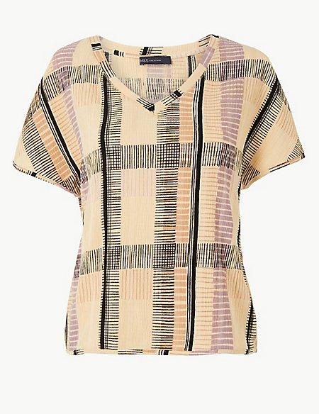 Checked V-Neck Short Sleeve Top
