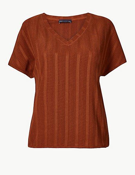 Textured V-Neck Short Sleeve T-Shirt