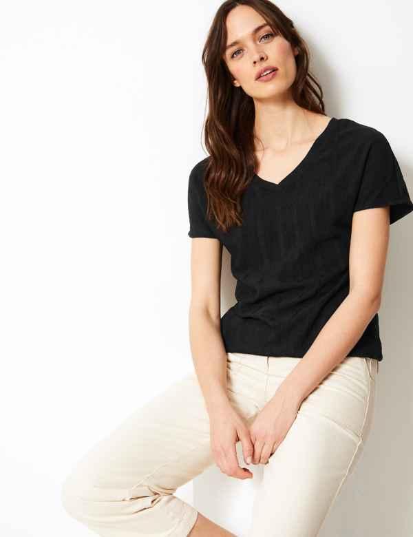 e6130919da Textured V-Neck Short Sleeve T-Shirt. New. M S Collection