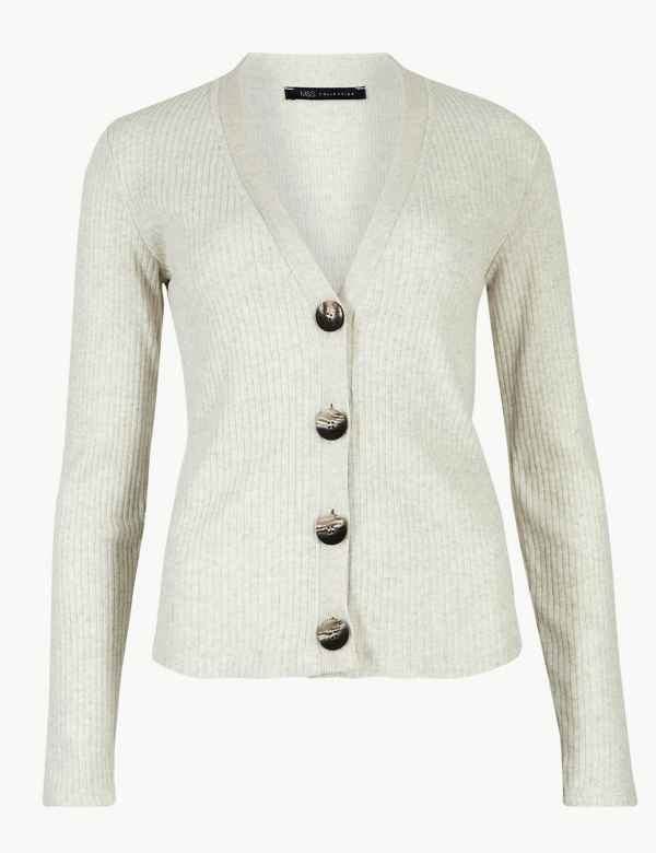 b9b025ebc3 Ribbed V-Neck Cardigan. M S Collection