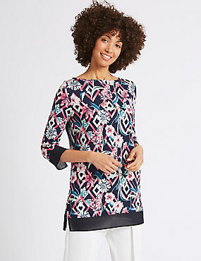Floral Print Round Neck 3/4 Sleeve Tunic