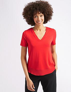 Crepe V-Neck Short Sleeve T-Shirt