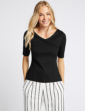 Fold Front V-Neck Half Sleeve Top