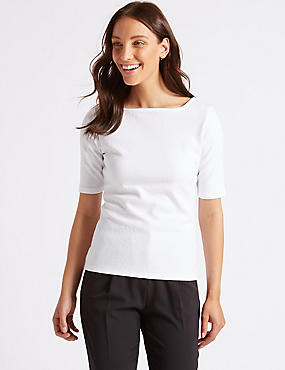 Textured Square Neck Half Sleeve Top