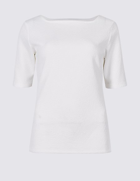 Textured Square Neck Half Sleeve Top red Marks and Spencer Low Price Cheap Price Best Prices For Sale Outlet Sast 1m6Iwcp