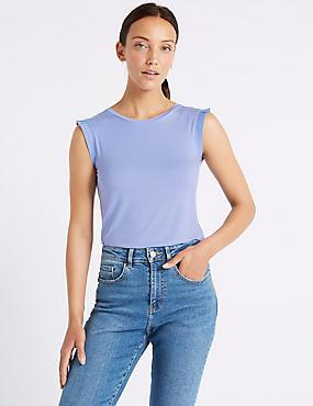 Lightweight Woven Trim Round Neck T-Shirt