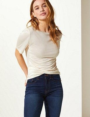 PETITE Round Neck Short Sleeve T-Shirt