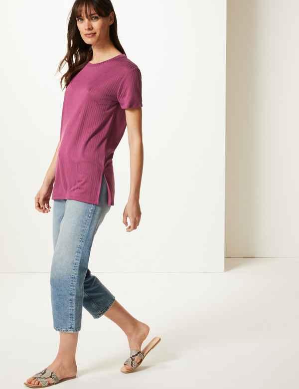 4b4d568766790 Textured Longline Short Sleeve Tunic