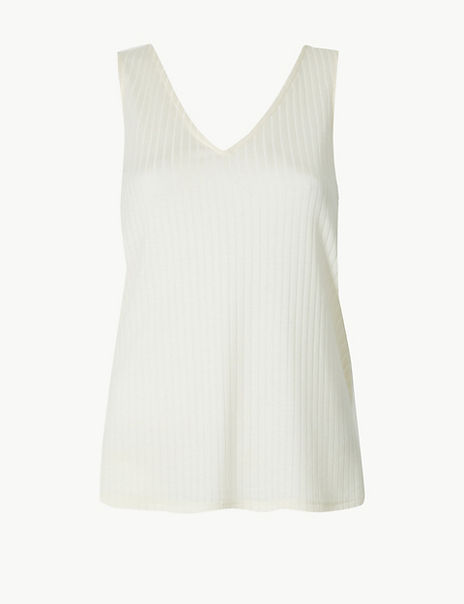 Textured V-Neck Relaxed Fit Vest Top