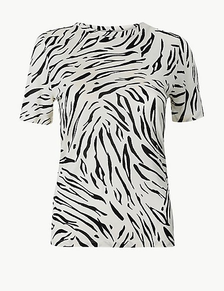 PETITE Animal Print Short Sleeve T-Shirt