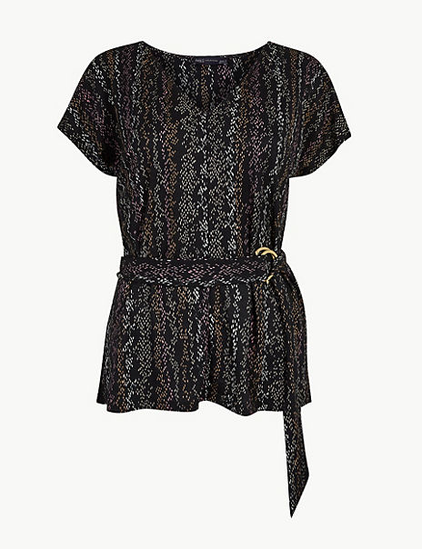 Animal Print Fitted Belted Top