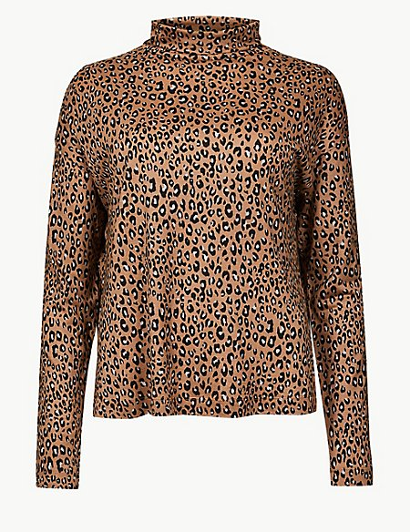 Animal Print Funnel Neck Long Sleeve Top