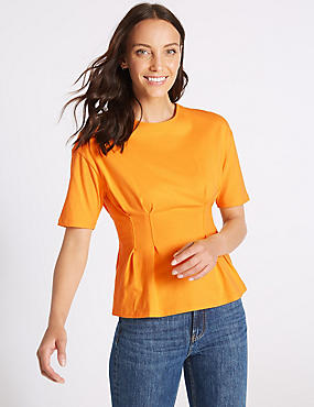 Pure Cotton Round Neck Short Sleeve Top