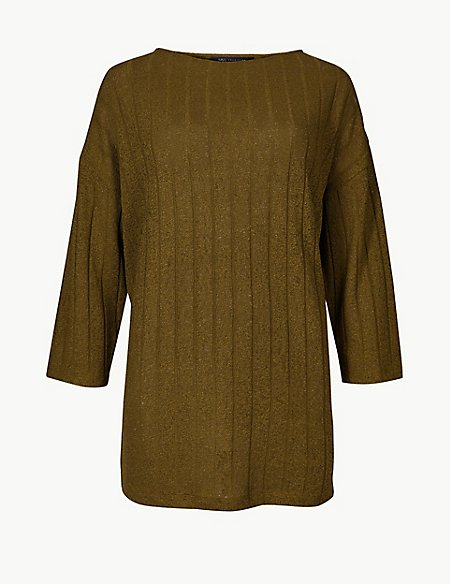 Oversized Ribbed Open Knit 3/4 Sleeve Tunic