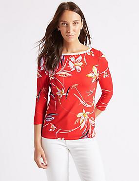 Floral Print Slash Neck Long Sleeve Top