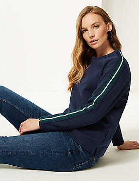 Cotton Rich Side Stripe Long Sleeve Sweatshirt