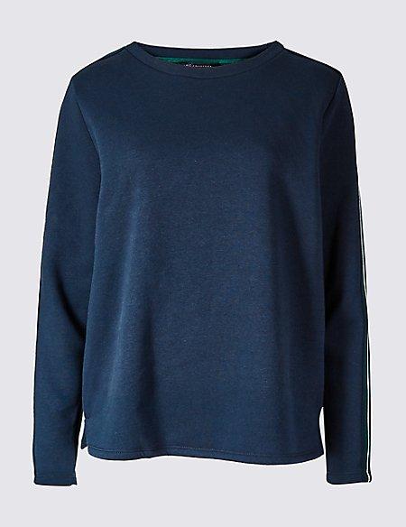 Cotton Rich Side Stripe Sweatshirt