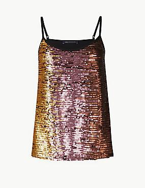 Sequin Embellished Vest Top