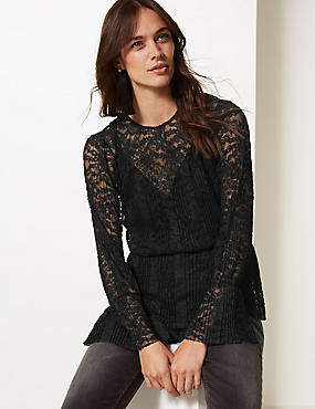 Lace Round Neck Long Sleeve Peplum Top