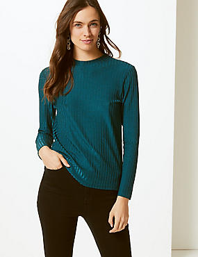 Sparkly Ribbed Round Neck Long Sleeve Top
