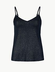 Sparkly Ribbed V-Neck Vest Top