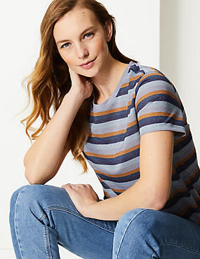 Sparkly Striped Short Sleeve T-Shirt