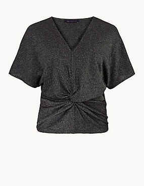 Sparkly Twist Front V-Neck Short Sleeve Top