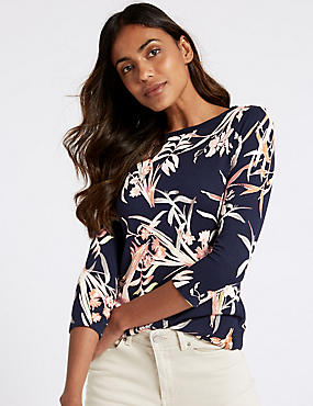 Floral Print Slash Neck Long Sleeve Top
