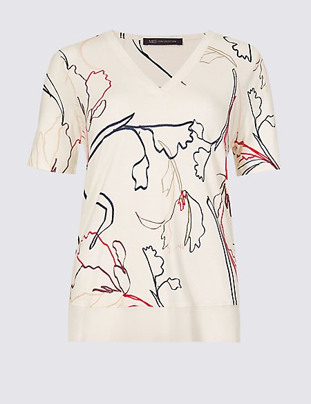 Floral Print V-Neck Short Sleeve Top