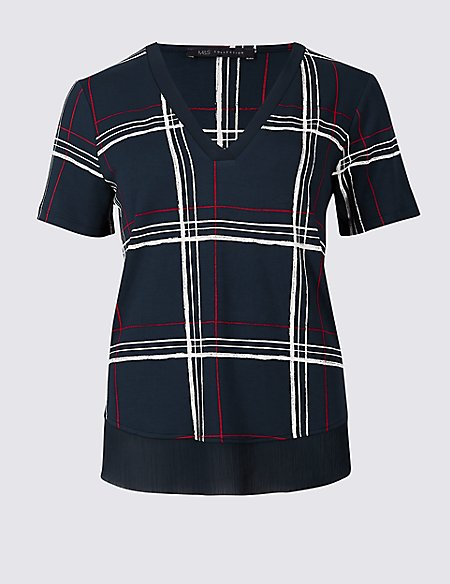 Checked V-Neck Short Sleeve Top