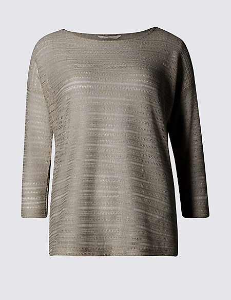 3/4 Sleeve Textured Drop Shoulder Top