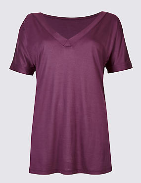 V-Neck Short Sleeve Mercerised T-Shirt