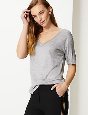 Mercerised V-Neck Short Sleeve Top
