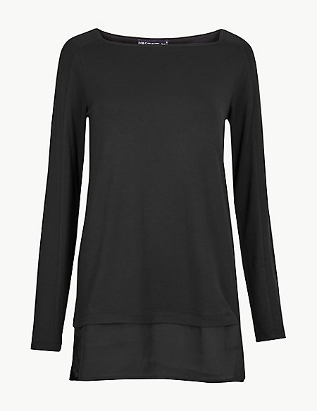 Square Neck Long Sleeve Tunic Top