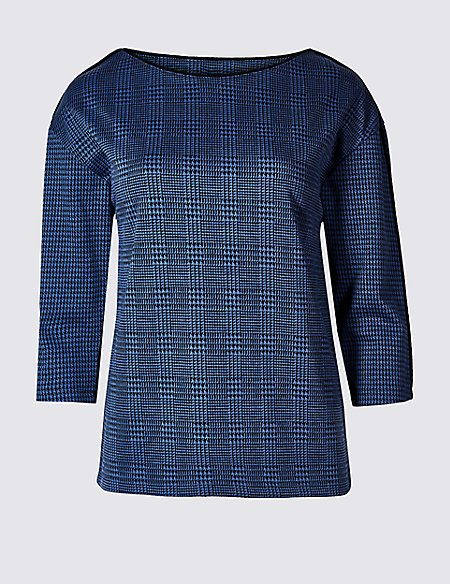 PETITE Checked Round Neck 3/4 Sleeve Top