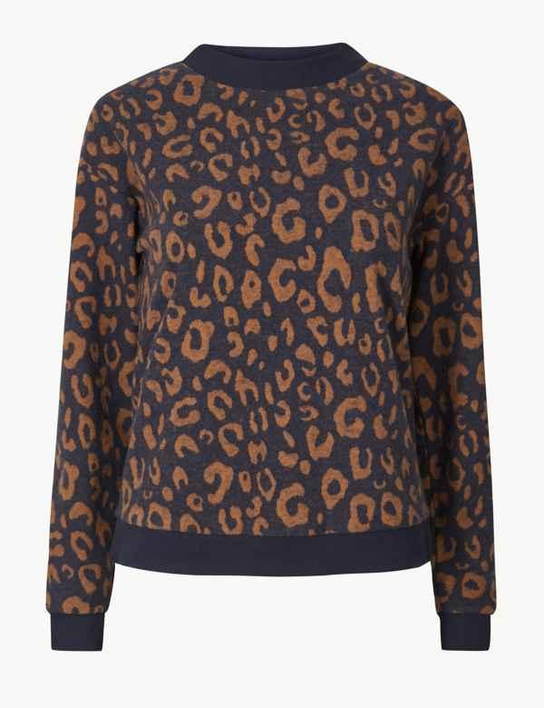 c9fcb99082c Animal Print Long Sleeve Sweatshirt