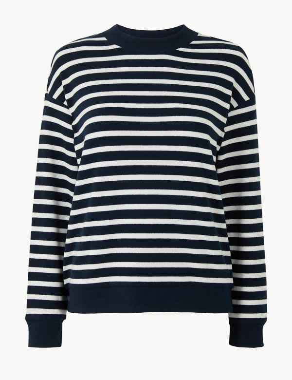 bf8cc73cae5 Striped High Neck Long Sleeve Sweatshirt