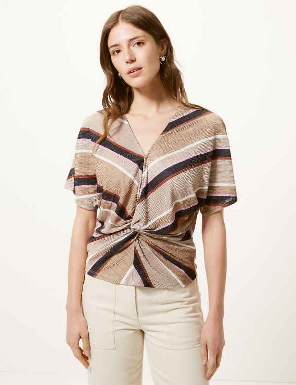 1907f0eeb1 Striped V-Neck Short Sleeve Shell Top