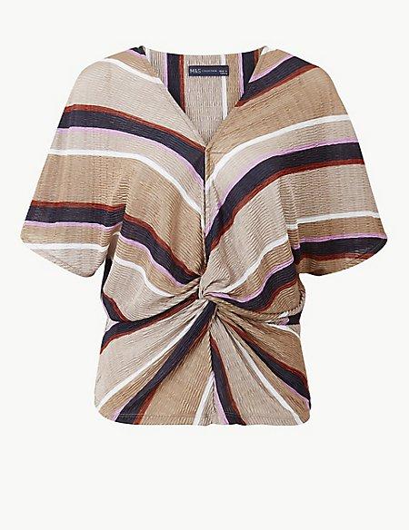 Striped V-Neck Short Sleeve Shell Top